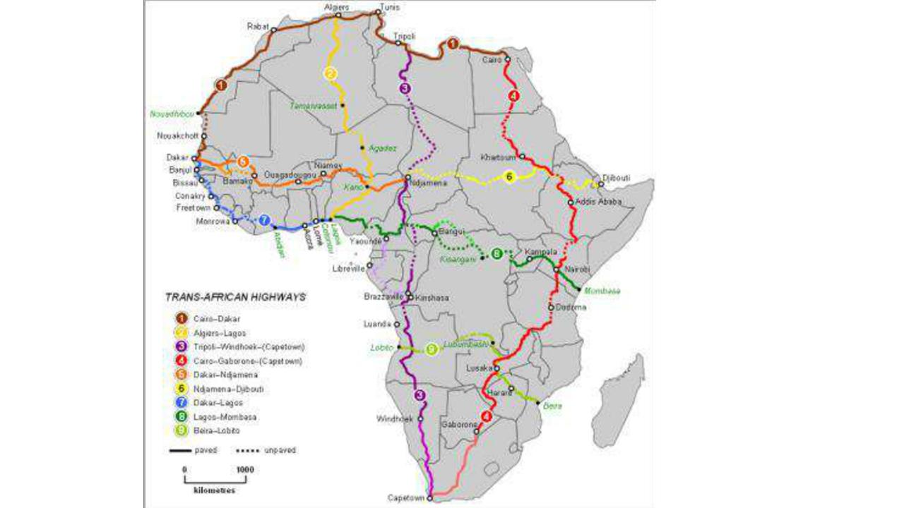 Carte des TransAfrican Highways